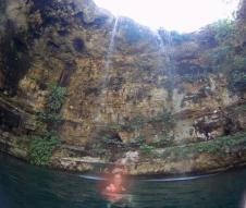Swimming in the Ik Kil Cenote