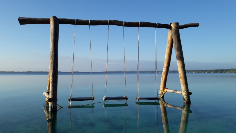 A swing in a body of water and reflections