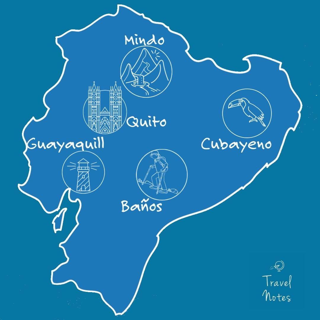 Map of Ecuador. Banos, quito, mindo, guayaq