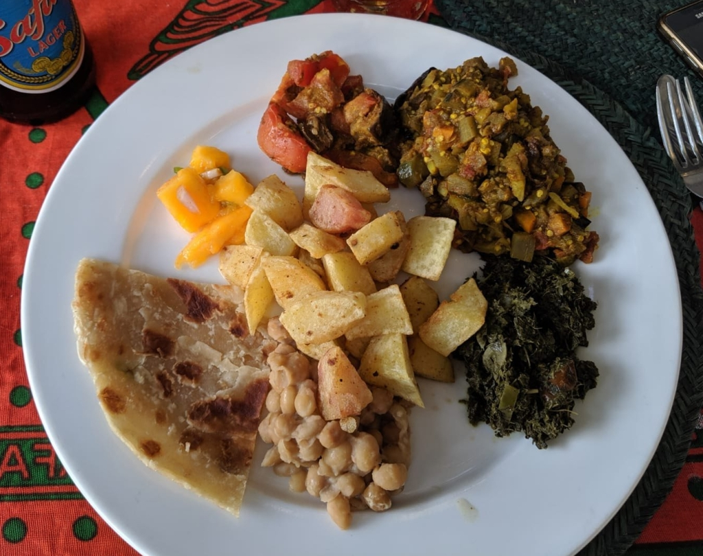 A plate with food