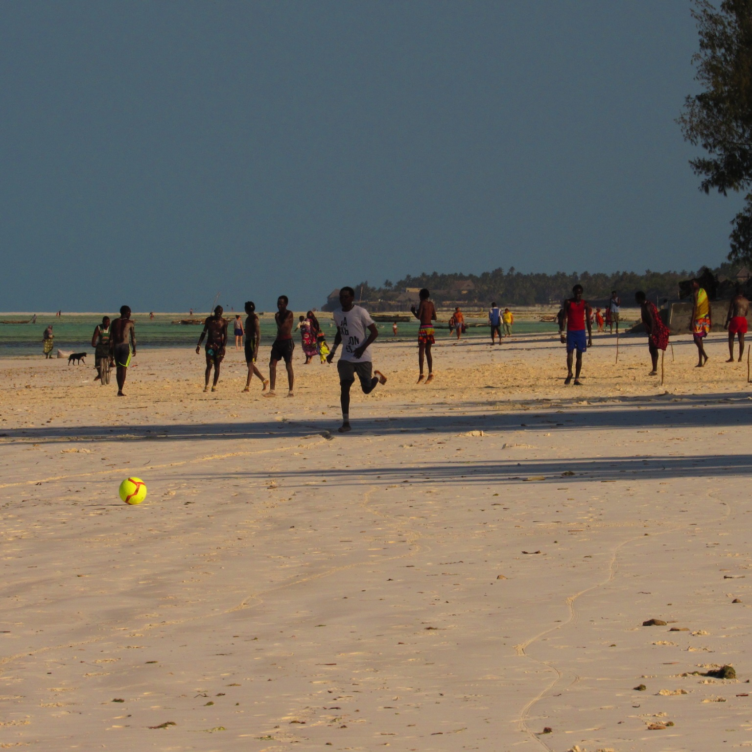 People playing football on Jambiani Beach, Zanzibar