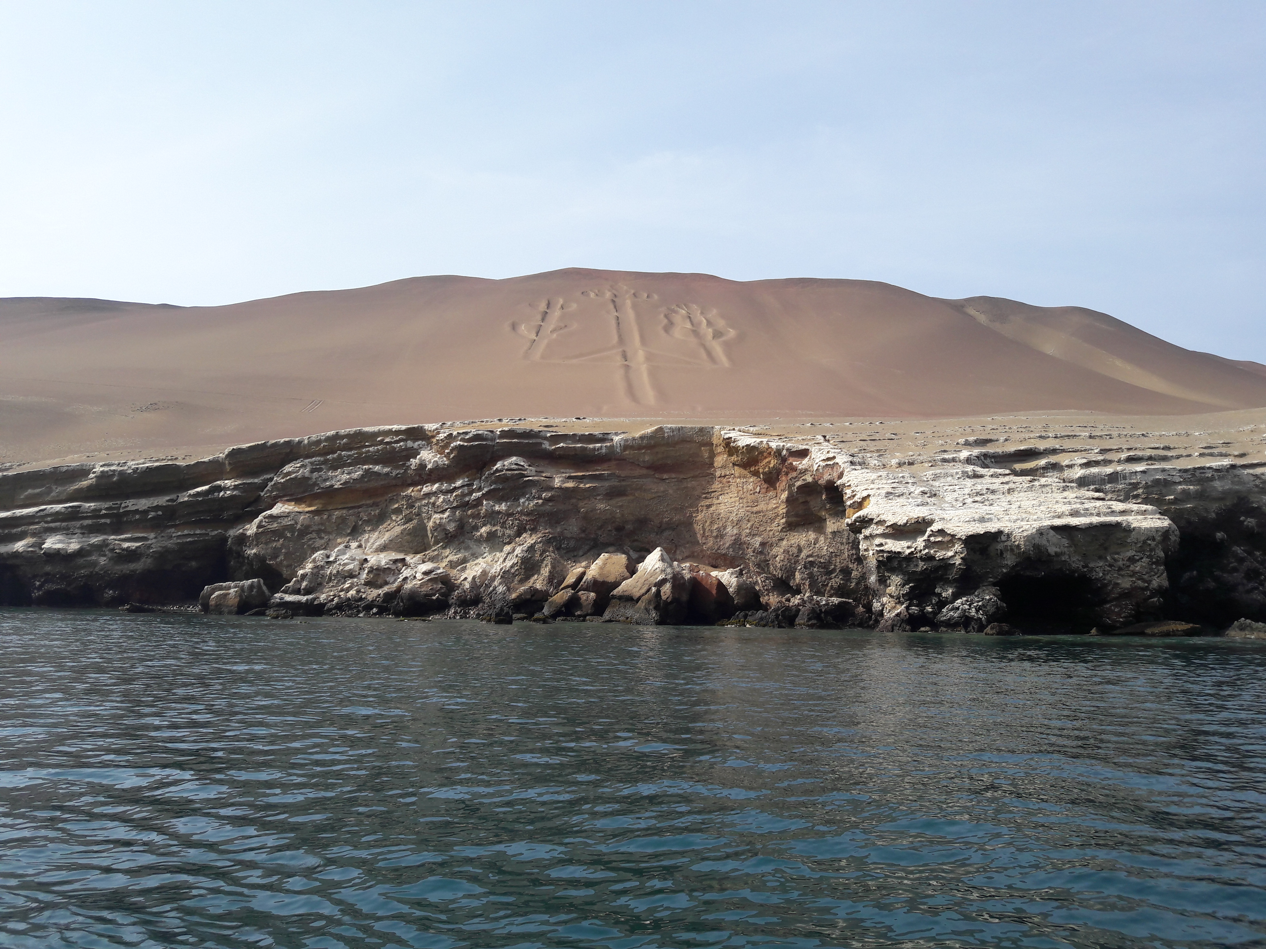 Sea and rocks, with the desert in the background