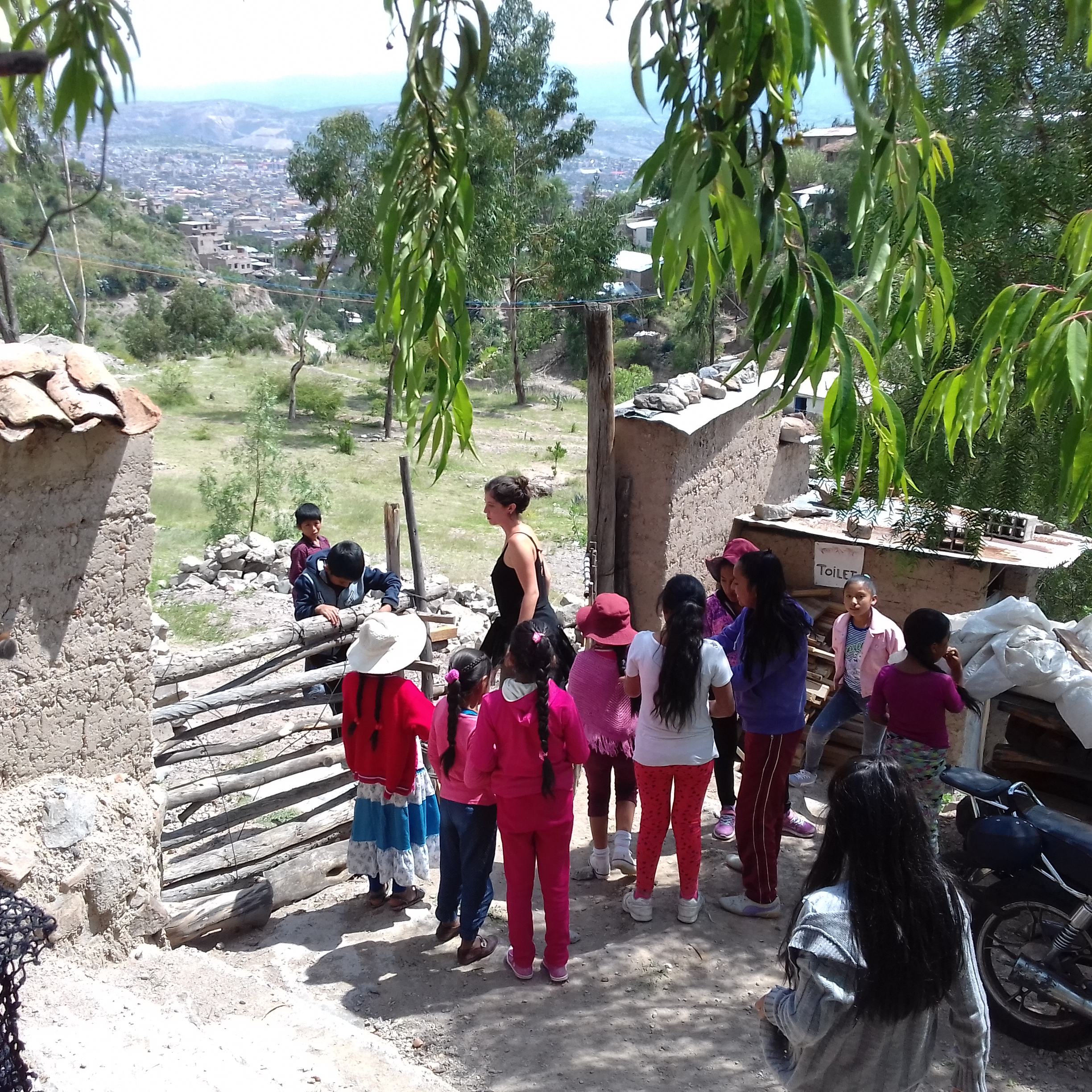 Playing Bandera with the kids attending the classes at Winay Maky in Ayacucho