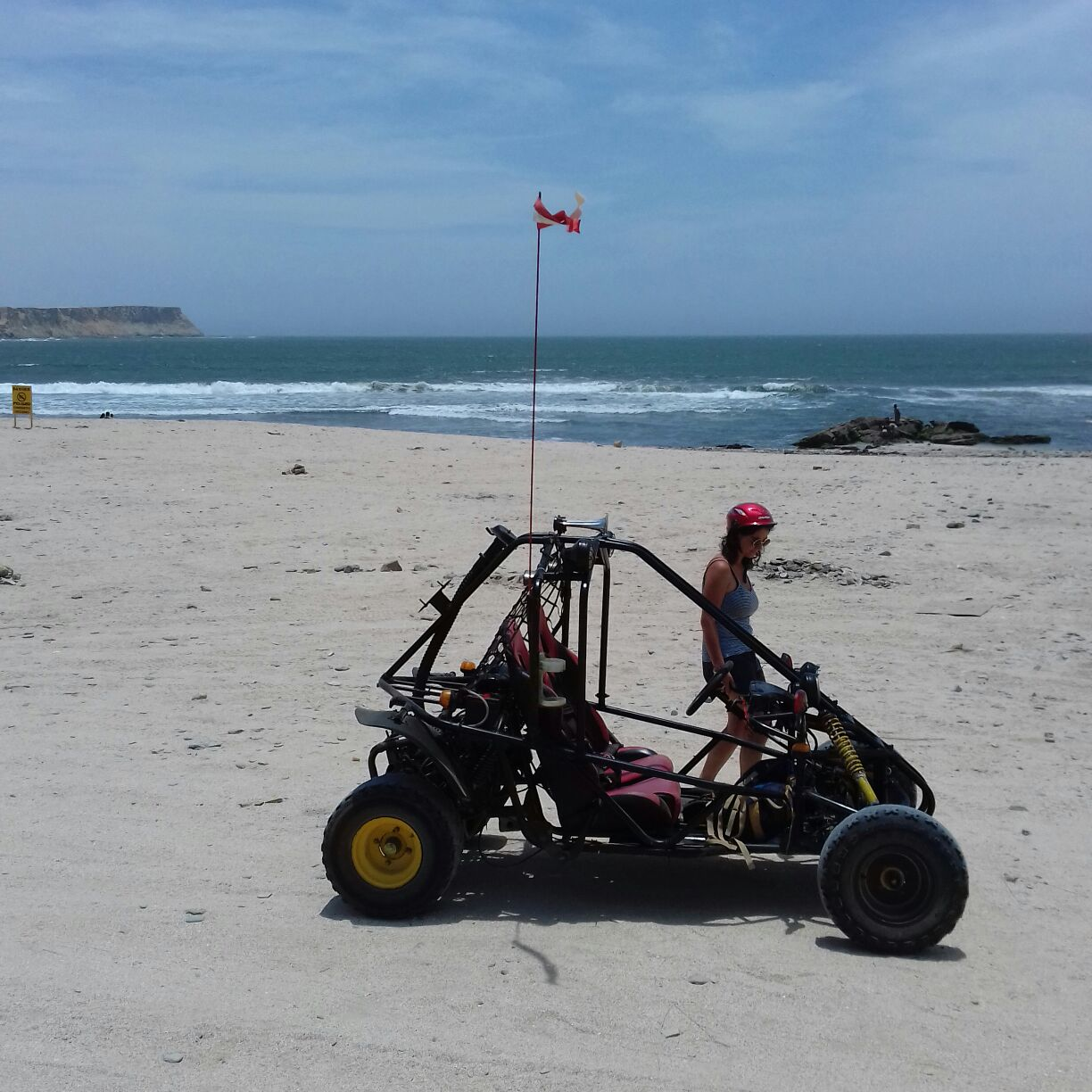 A woman standing by a buggy on a beach