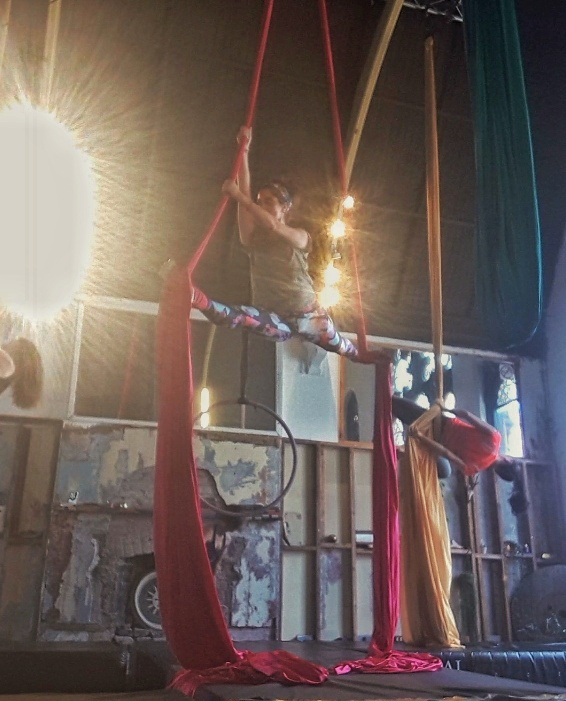A woman on silks performing
