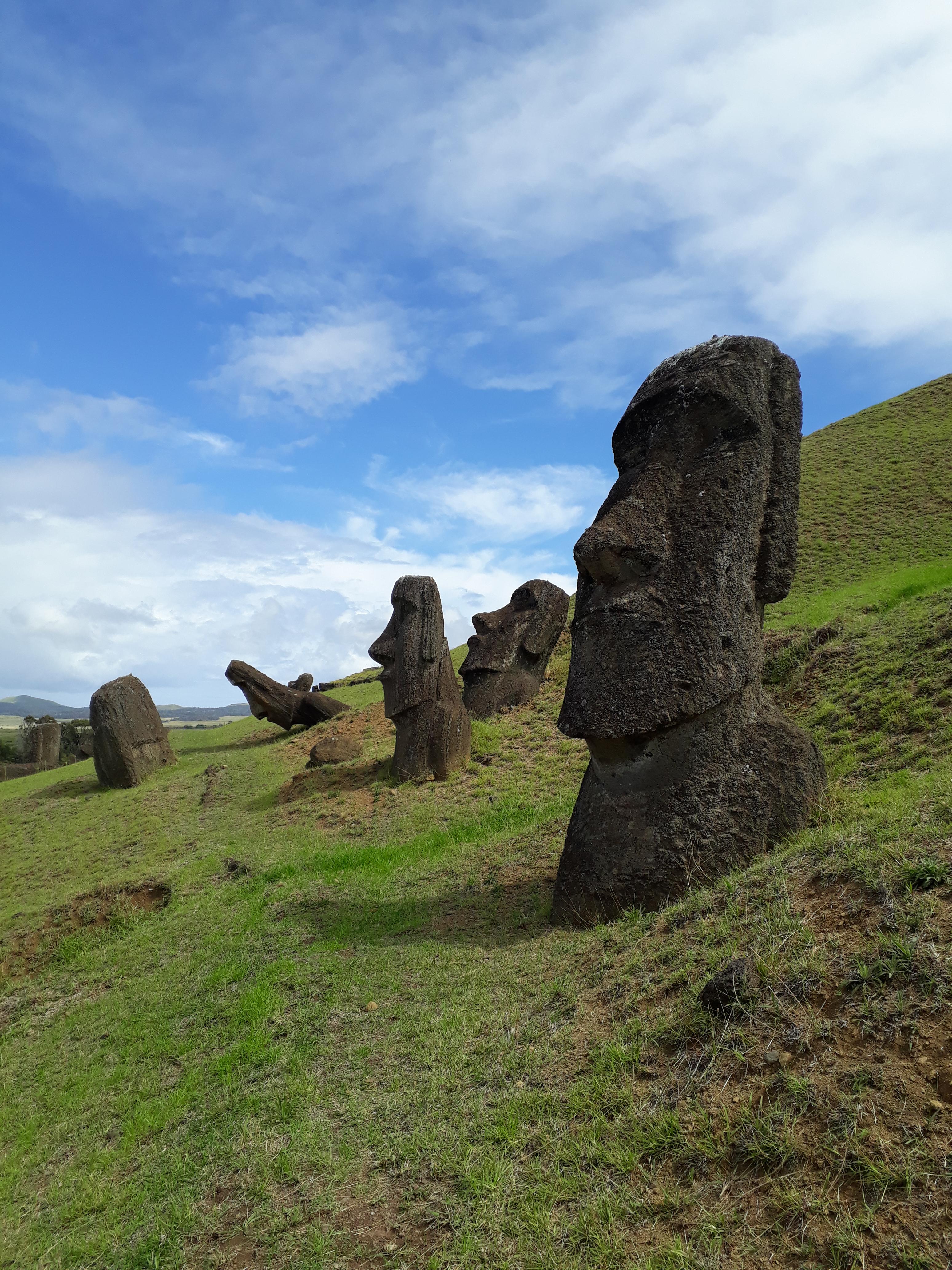 Rano Raraku moai statues on a green hill