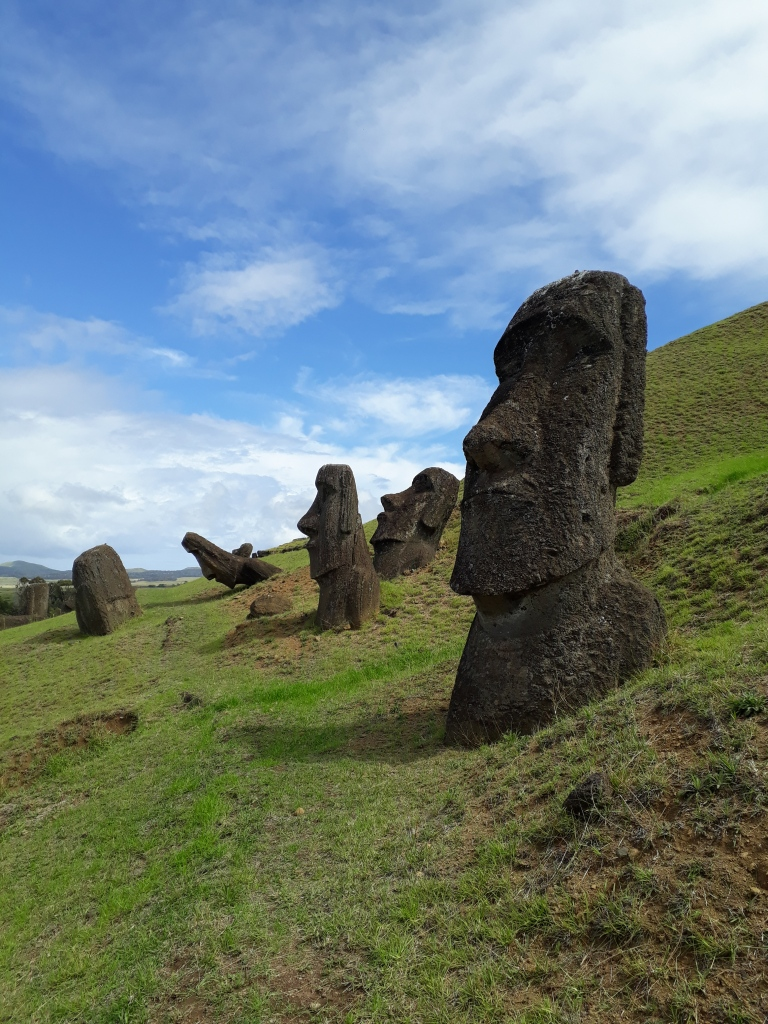 Rano Raraku moai statues on a green hill